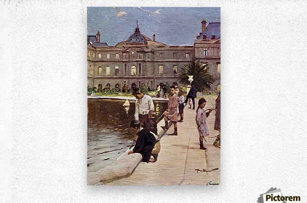 Children of Paris in The Luxemburg Gardens, Paris, France. Colour illustration from the book France by Gordon Home published 1918  Metal print
