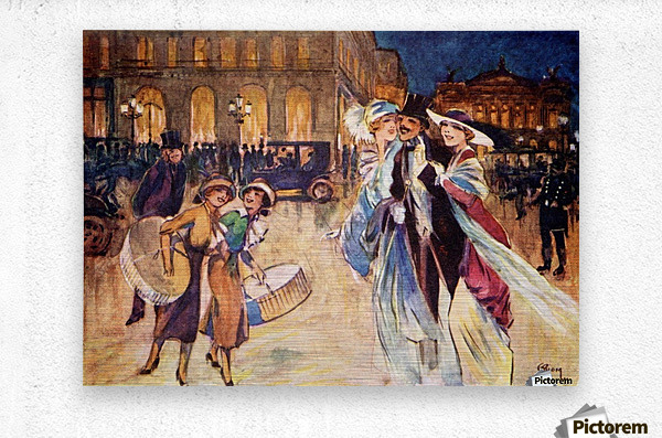 The Heart of Fashionable Paris. Colour illustration from the book France by Gordon Home published 1918  Metal print