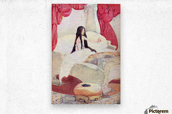 The House in the Wood, illustration from The Golden Wonder Book published 1934.  The bed was of ivory, and the curtains of red velvet, and on a stool close by was placed a pair of slippers ornamented with pearls.  Metal print
