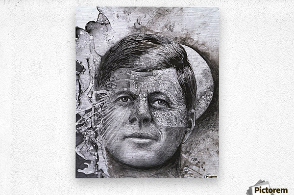 Black and white illustration of a man's face with a full moon overlapping his face  Metal print
