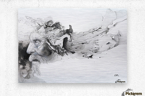Illustration of a man's face with abstract shapes emerging from the back of the head  Metal print