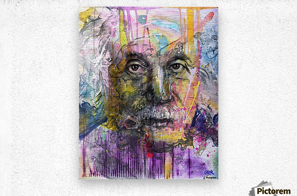 Illustration of a man's face with colourful abstract patterns surrounding it  Metal print