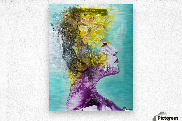 Illustration of a woman's head with colourful abstract patterns emerging from the back of the head  Metal print