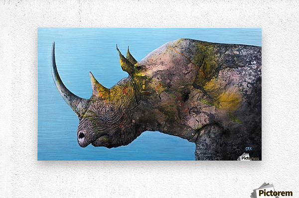 Illustration of a white rhinoceros against a blue background  Metal print