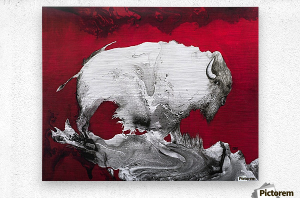 Illustration of a bison against a red background  Metal print