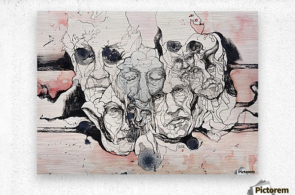 Illustration of male faces overlapping  Metal print