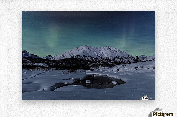 Aurora Borealis (Northern Lights) dance above Idaho Peak and the Little Susitna River at Hatcher Pass in winter, South-central Alaska; Alaska, United States of America  Metal print