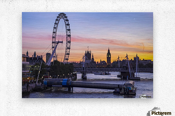 Millennium Wheel and skyline at sunset; London, England  Metal print