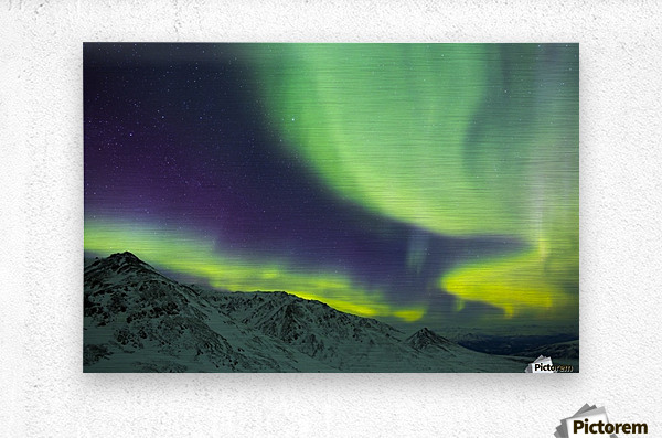 Aurora borealis swirls over mountains within Denali National Park on a very cold winter night; Alaska, United States of America  Metal print