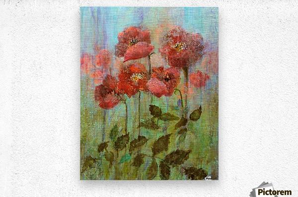 Poppies In Pastel Red  Metal print