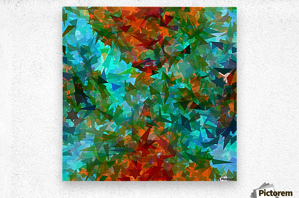 psychedelic geometric abstract pattern in green blue orange  Metal print