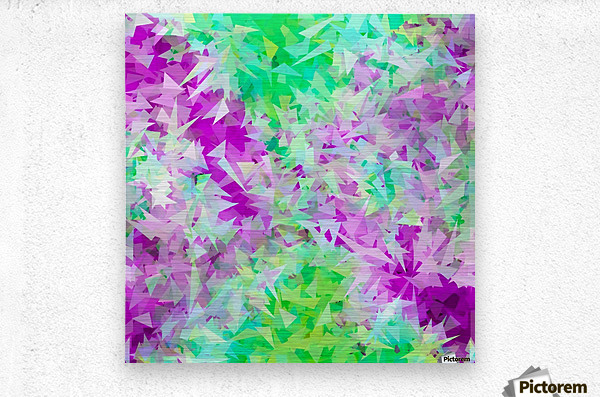 psychedelic geometric triangle abstract pattern in purple and green  Metal print