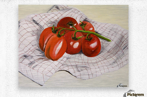 Tomatoes on a Striped Cloth   Metal print