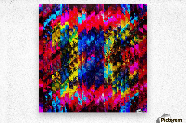 psychedelic geometric painting abstract pattern in red pink blue yellow  Metal print
