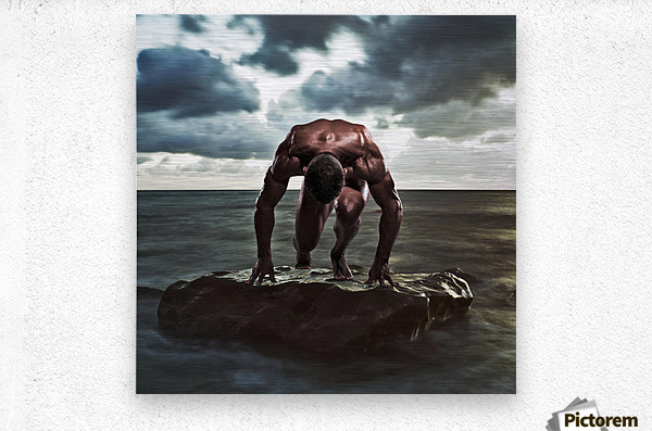 A muscular man in the starting position on a wet rock in the water;Tarifa cadiz andalusia spain  Metal print
