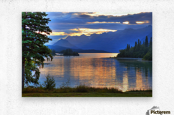 Sunrise On Lake Clark In Lake Clark National Park, Southcentral, Alaska, Hdr Image  Metal print