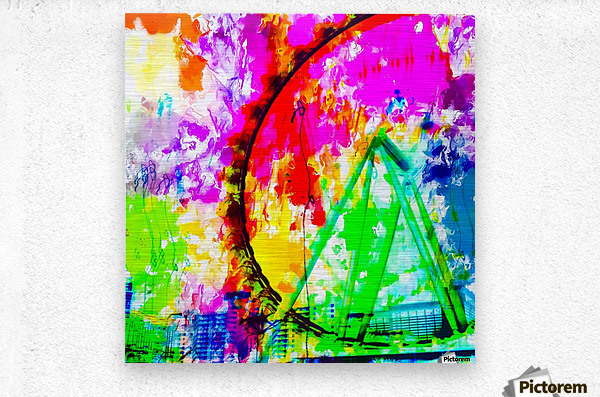 ferris wheel in the city at Las Vegas, USA with colorful painting abstract background  Metal print