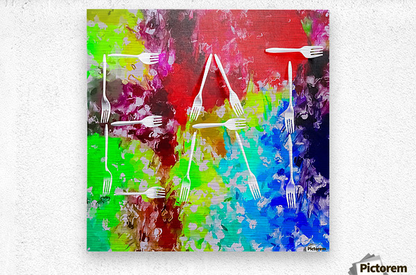 EAT alphabet by fork with colorful painting abstract background  Metal print