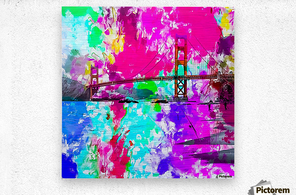 Golden Gate bridge, San Francisco, USA with pink blue green purple painting abstract background  Metal print
