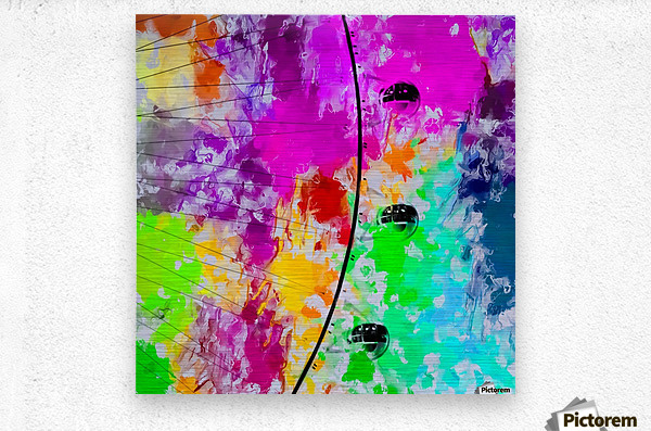 ferris wheel with pink blue green red yellow painting abstract background  Metal print