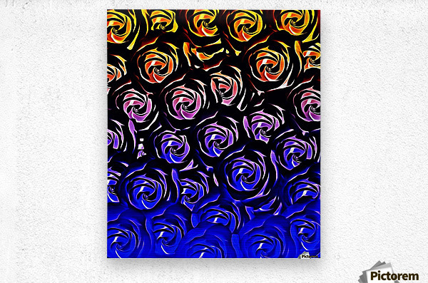 rose pattern texture abstract background in blue and red  Metal print
