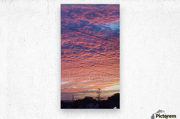 Red Sky Over Wires  Metal print