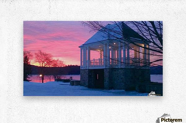 winter sunrise over the park  Metal print