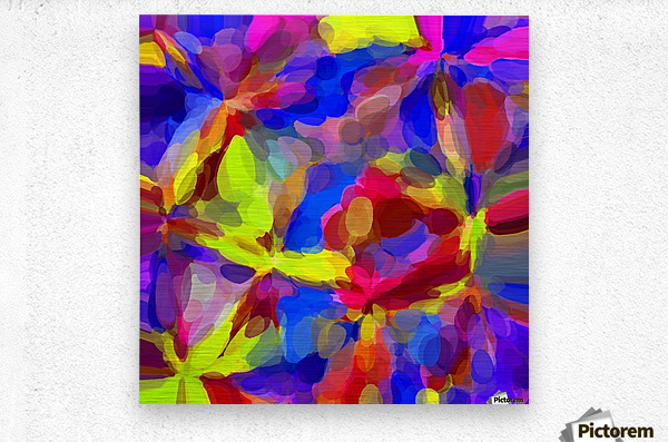circle pattern abstract background in blue yellow red pink  Metal print