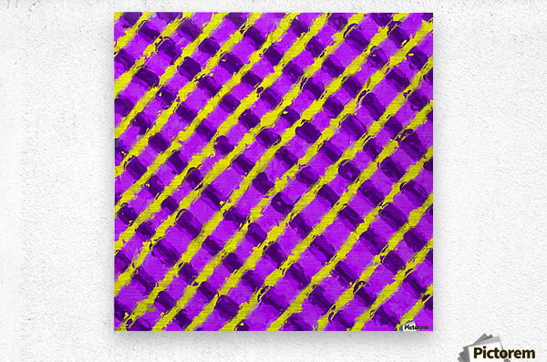 line pattern painting abstract background in purple and yellow  Metal print
