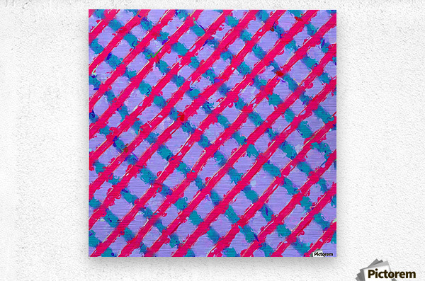 line pattern painting abstract background in red purple blue  Metal print