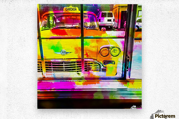 yellow classic taxi car with colorful painting abstract in pink orange green  Metal print