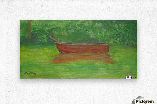 Rowboat drifting.  Metal print