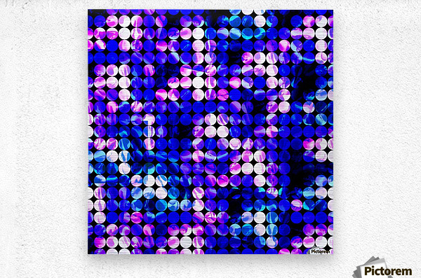 circle pattern abstract background with splash painting abstract in blue and pink  Metal print