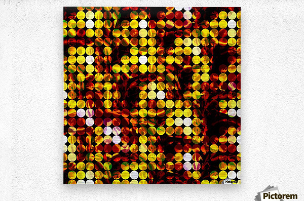 circle pattern abstract background with splash painting abstract in yellow red brown  Metal print