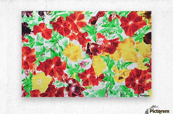 red flower and yellow flower with green leaf abstract background  Metal print