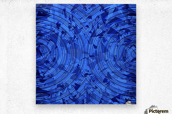 psychedelic geometric circle pattern abstract background in blue  Metal print