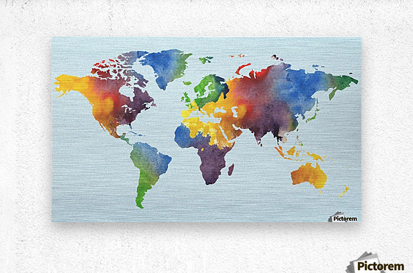 Bright Watercolor Map Of The World  Metal print
