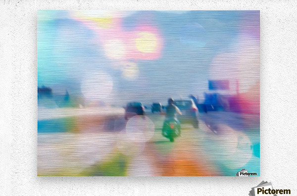 car and motorcycle on the road in the city with bokeh light  Metal print