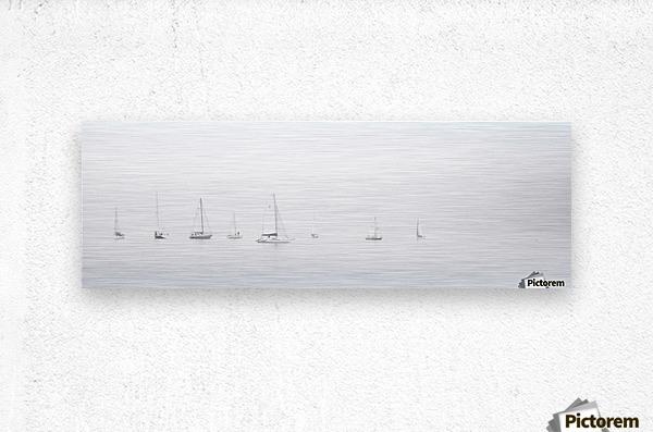 sea black and white ocean boats  Metal print
