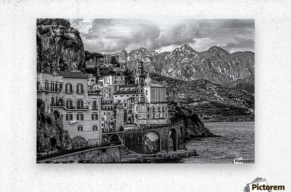 Black and White Landscape - Amalfi Coast - Italy  Metal print