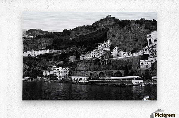 Amalfi Coast Black and White Landscape  Metal print