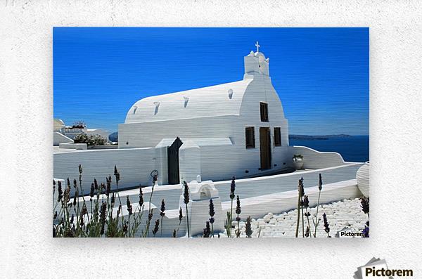 Small White Church in Santorini - Greece  Metal print