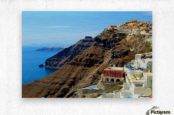 Santorini Mountains Landscape - Greece  Metal print