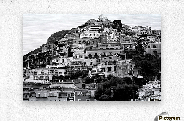 Black and White Landscape - Positano - Italy  Metal print