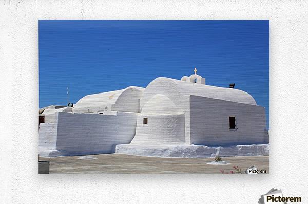 White Church -Santorini Island -  Greece  Metal print