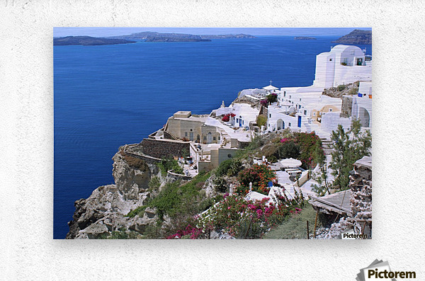Colourful Santorini Landscape   Metal print