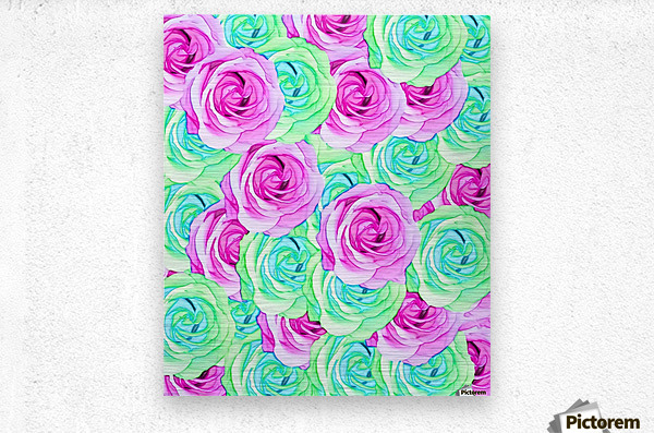blooming rose texture pattern abstract background in pink and green  Metal print