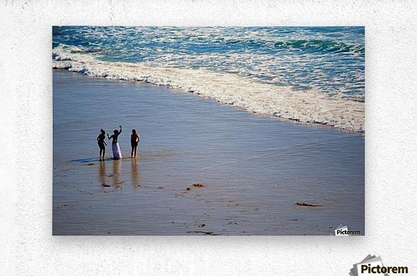 3 girls on California beach  Metal print
