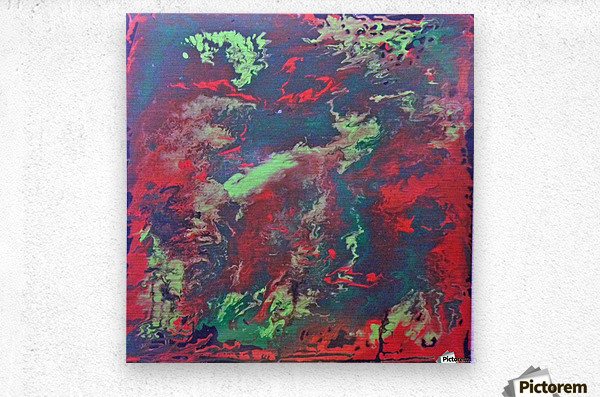 Red and Green Abstract  Metal print