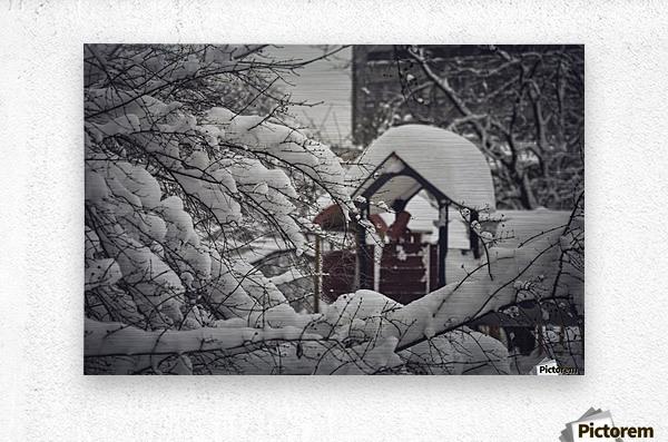 Red Playground Under Snow  Metal print